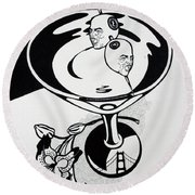 New York Martini Round Beach Towel