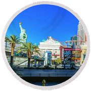 New York New York Casino From The East  2 To 1 Ratio Round Beach Towel by Aloha Art