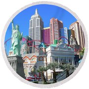 Round Beach Towel featuring the photograph New York New York by Randy Rosenberger