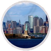 Round Beach Towel featuring the photograph New York New York  by Richard Ortolano