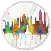 New York Ny Skyline Round Beach Towel