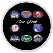 New York Professional Sport Teams Collage  Round Beach Towel