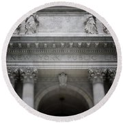 Round Beach Towel featuring the mixed media New York Public Library- Art By Linda Woods by Linda Woods