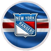 New York Rangers - 3d Badge Over Flag Round Beach Towel