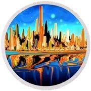 New York Skyline In Blue Orange - Modern Fantasy Art Round Beach Towel