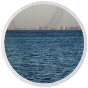 Round Beach Towel featuring the photograph New York Skyline by Robbie Masso
