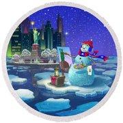 New York Snowman Round Beach Towel