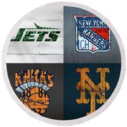 New York Sports Team License Plate Art Collage Jets Rangers Knicks Mets V2 Round Beach Towel
