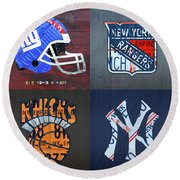 New York Sports Team License Plate Art Giants Rangers Knicks Yankees Round Beach Towel