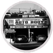 Round Beach Towel featuring the photograph New York Street Photography 69 by Frank Romeo
