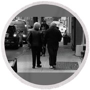 Round Beach Towel featuring the photograph New York Street Photography 75 by Frank Romeo