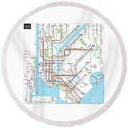 New York Subway Map Round Beach Towel