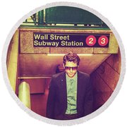 New York Subway Station Round Beach Towel
