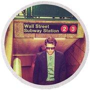 New York Subway Station Round Beach Towel
