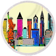 New York - The Big City Round Beach Towel