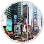 New York Times Square Panorama Round Beach Towel by Kasia Bitner