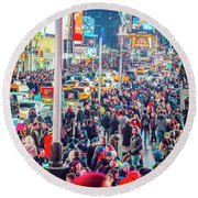New York Times Square Round Beach Towel