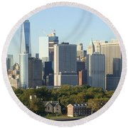 Round Beach Towel featuring the photograph New York View From Brooklyn Harbor by Rod Jellison