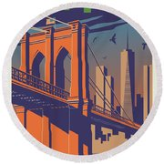 New York Vintage Travel Poster Round Beach Towel