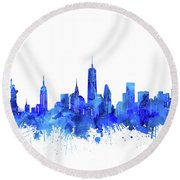 New York Watercolor Blue Round Beach Towel