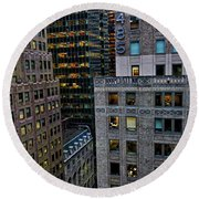 Round Beach Towel featuring the photograph New York Windows by Joan Reese