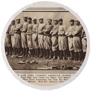 Round Beach Towel featuring the photograph New York Yankees 1916 by Daniel Hagerman