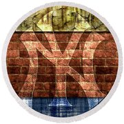 New York Yankees Brick 2 Round Beach Towel