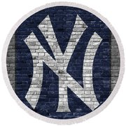 New York Yankees Brick Wall Round Beach Towel