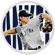 New York Yankees Round Beach Towel by Stephen Younts
