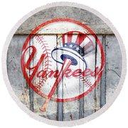 New York Yankees Top Hat Rustic 2 Round Beach Towel