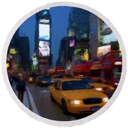 Round Beach Towel featuring the painting New York Yellow Cab by David Dehner