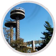 New York's 1964 World's Fair Observation Towers Round Beach Towel