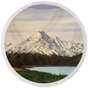 Round Beach Towel featuring the painting New Zealand Lake by Kevin Daly
