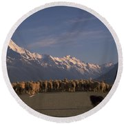 New Zealand Mt Cook Round Beach Towel