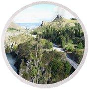 Round Beach Towel featuring the photograph New Zealand Scene by Constance DRESCHER