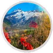 New Zealand Southern Alps Montage Round Beach Towel