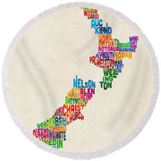 New Zealand Typography Text Map Round Beach Towel