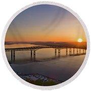 Newburgh-beacon Bridge May Sunrise Round Beach Towel