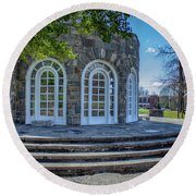 Newburgh Downing Park Shelter House Side View Round Beach Towel