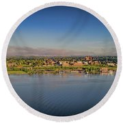 Newburgh, Ny From The Hudson River Round Beach Towel