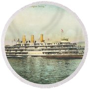 Newburgh Steamers Ferrys And River - 30 Round Beach Towel