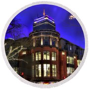Round Beach Towel featuring the photograph Newbury Street And The Prudential - Back Bay - Boston by Joann Vitali