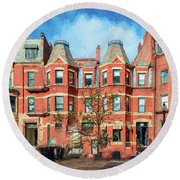 Newbury Street In Boston Round Beach Towel