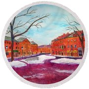 Newburyport Ma In Winter Round Beach Towel