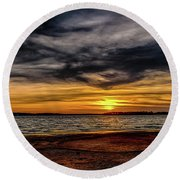 Newd Sunset Round Beach Towel by Doug Long