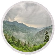 Newfound Gap In Great Smoky Mountains National Park Round Beach Towel