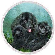 Round Beach Towel featuring the mixed media Newfoundlander by Carol Cavalaris