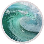 Newport Beach Wave Curl Round Beach Towel by Eddie Yerkish