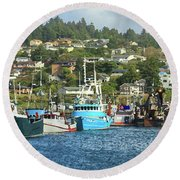 Round Beach Towel featuring the digital art Newport Harbor by James Eddy
