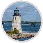 Newport Harbor Lighthouse Round Beach Towel